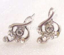 fashion1uk Clear Simulated Diamond White Gold Plated Clef Music Stud Earrings