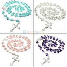 LONG ROSARY IMITATE PEARL BALL PENDANT NECKLACE PRAYER BEADS CHAIN SILVER CROSS
