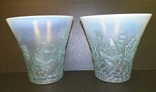 PAIR OF VINTAGE 1930 BAROLAC OPALESCENT BLUE GREEN GLASS VASES NAUTICAL ARMADA