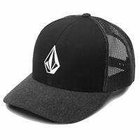 Volcom Men's Full Stone Cheese Trucker Snapback Hat Black/Dark Gray Headwear ...