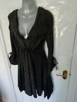 B-YOUNG Size 10 12 (S) Grey Black Lagenlook Parachute Dress Drawstring Waist