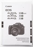 Bedienungsanleitung Canon EOS ELAN7 NE 30V Date ELAN7 N Instructions 33V