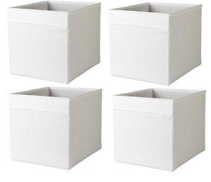 4 x IKEA White DRONA Box Fabric Storage Expedite Kallax Shelving Books Toys