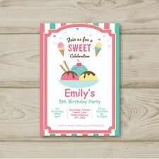 Ice Cream Sweet Birthday Party Invitations Personalised
