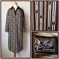Vintage 1960s 70s Brown Belt Patterned Polyester Dress Mod Plus SIze Size 20 22