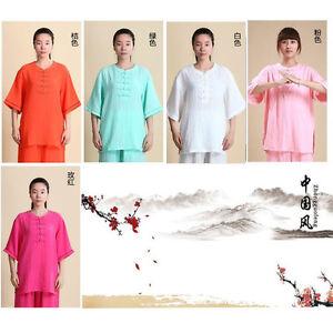 Women Flax Linen Kung fu Martial art Tai Chi Suit Wing Chun Uniforms Clothes