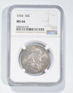 MS66 1954 Franklin Half Dollar - Graded NGC *754