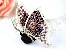 Dance hair accessory- HR0090 Black scrunchie decorated with a sparkling pink