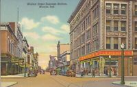 Muncie, INDIANA - Walnut Street - 1939 - 1939 - old cars, trolley tracks