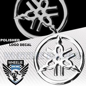 "1.5""MOTO/BIKE 3D POLISH/SHINY ABS EMBLEM DECAL LOGO FENDER STICKER YAMAHA CHROME"
