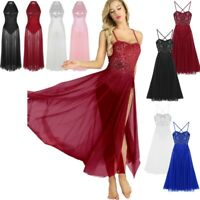 Womens Adult Dance Dress Sequined Ballet Leotard Long Maxi Mesh Skirt Dancewear