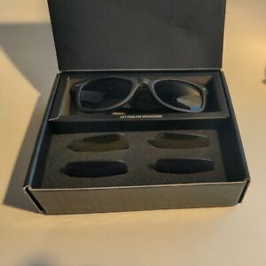Marlboro Birthday Promo Black Sunglasses UV changeable Lenses-Black-Blue-Gold
