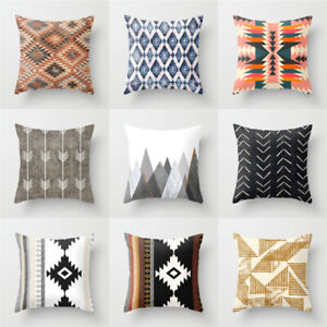 Geometric Decorative Cushion Cover Triangles Print Sofa Throw Pillow Cover Home