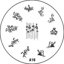 Stampingschablone A10, Herz,  Schnörkel, hängende Kreise usw.
