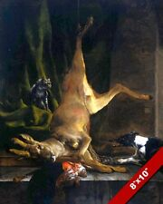 DISEMBOWELED DEER CAT & DOG STILL LIFE PAINTING FOOD ART REAL CANVAS PRINT