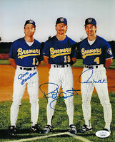 BREWERS Robin Yount Paul Molitor Jim Gantner signed 8x10 photo JSA COA AUTO Trio