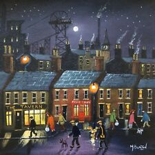 MAL.BURTON ORIGINAL OIL PAINTING   PIT TOWN PEOPLE   NORTHERN ART DIRECT NEW