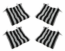 Good Set Of 4   In / Outdoor Tufted Chair Cushion   Black White Stripe   Choose