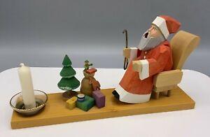 Räuchermann, Weihnachtsmann mit Pfeife, mit Kerzenhalter, Erzgebirge BF