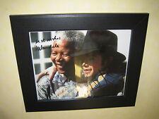 Michael Jackson and Nelson Mandela Signed Photo Repro-Print (8x10) Framed