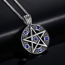 Fashion Men Decor Silver Pentacle Titanium Steel Blue Pentagram Pendant Necklace