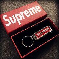 BRAND NEW SUPREME RED Box Logo Metal Pendant Keychain Key Ring New