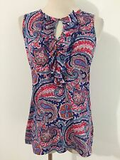 Ralph Lauren Ruffled Key-Hole Cami Blue, Red & Taupe Paisley Size M