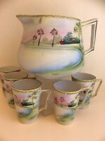 Antique Nippon Porcelain Lemonade Set: Pot &5 cups,Hand Painted Landscape,c.1920