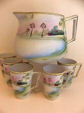 Vintage Nippon Hand Painted Landscape Porcelain Lemonade Set: Pot &5 cups,c.1920