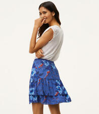 NWT Ann Taylor Loft Floral Tiered Flippy Skirt. Lined. Blue. 6.
