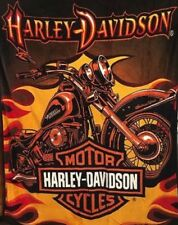 "Harley Davidson Sunset Plush Raschel Throw Blanket Queen Size 76"" By 94"""
