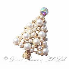 Christmas Xmas Gold Pearl Sparkling Tree Decorated Rhinestone Jewellery Brooch