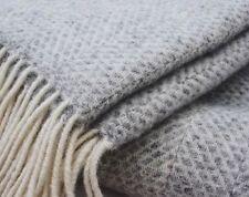 TWEEDMILL Wool Throw Beehive Honeycomb Grey Pure New Wool Blanket Made In UK