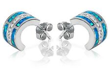 Blue Fire Opal Sterling Silver Clear CZ Half Eternity Huggie Earrings