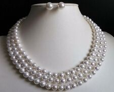 3 Rows 8mm white south sea shell pearl necklace Earrings 17-19""