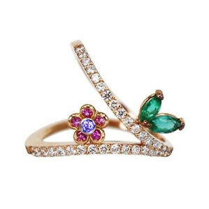 0.85ct Round Diamond 14K Yellow Gold Emerald Sapphire Ruby Stone Cocktail Ring
