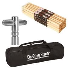On Stage HN5B Hickory High Quality Drum Sticks 12 Pair + Drum Tunning Key & Bag