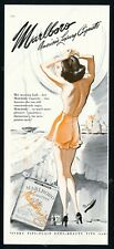 1944 Marlboro cigarettes smoking topless woman art vintage print ad