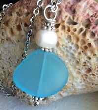 "Pearl Gem Aqua Blue Sea Glass Necklace Glow 23.5"" Stainless Chain HandMade BEACH"