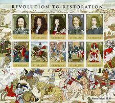 St Helena 2010 MNH Revolution to Restoration 10v M/S Cromwell Royalty Stamps