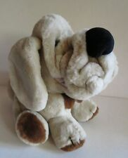 """Vintage 1984 Wrinkles Plush Dog with Leather Name Tag 10"""""""