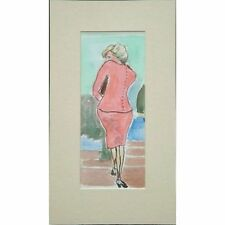 Princess Diana Pink Dress Stair Portrait Watercolour Painting by Patricia Rhodes