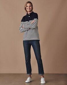 CREW CLOTHING Half Button Sweatshirt Navy Blue White Stripe - New BNWT RRP £55