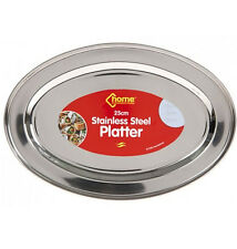 STAINLESS STEEL OVAL RICE TRAY PLATE SERVING DISH PLATTER MEAT BUFFET KITCHEN