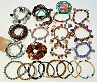 Lot of 25 stretch bracelets. Christmas, Jingle bells, stars, beads, multi-color