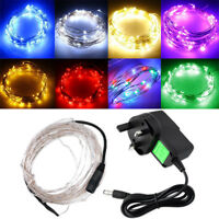 5M 50 LED Silver Wire Fairy Starry String Lights 12V/1A Indoor/Outdoor Decor UK