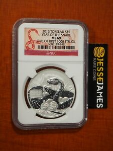 2013 $5 TOKELAU SILVER YEAR OF THE SNAKE NGC MS69 EARLY RELEASES LABEL