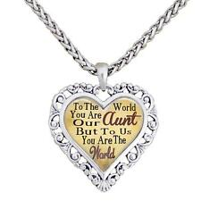 Aunt You Are The World To Us Silver Chain Necklace Heart Jewelry Auntie Gift