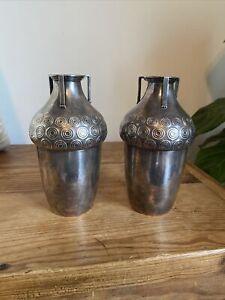 Pair Antique c.1910 Art Nouveau Secessionist WMF Silverplated Handled Vases