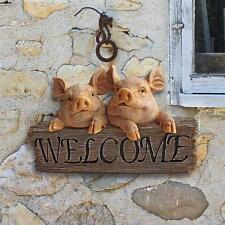 Friendly Barnyard Piggy Welcome Sign Pig Garden Wall Sculpture